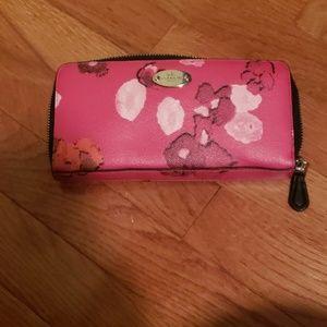 Coach pink floral wallet